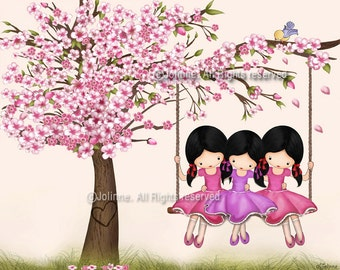 three sisters room wall art, girls room decor, kids art, wall art poster, cherry blossom tree , girls on swing