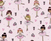 Pink GLITTER Ballet Dance Pointe Shoes Ballerina Dancer Timeless Treasures Novelty Fabric