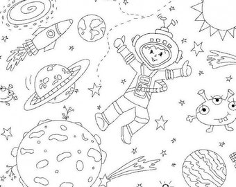 Color Me Michael Miller To The Moon and Back Space Ship Rockets Aliens Fabric Marker Coloring Material