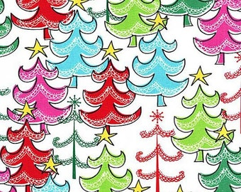 Christmas Fabric by Michael Miller Holiday Multicolored Whimsical Christmas Trees with Star on Top