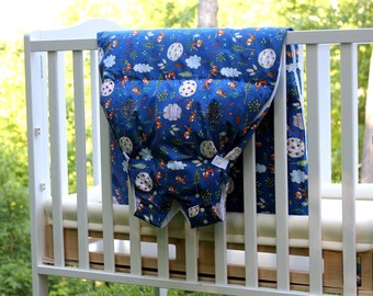 baby sleep sack, down fill with cotton shell, baby and toddler sleeping bag, size adjusts with growth, blue woodland fox, Baby Snap Sack®