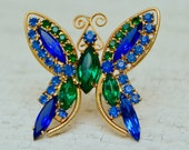 Vintage Faceted Blue Glass Pin . Butterfly . Green and Blue . Gold Plated . Prong Set.