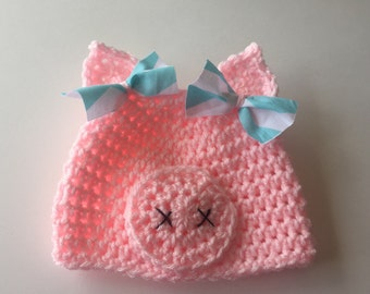 Little Piggy Hat Pig Beanie Pig with Bows ALL sizes from Newborn  to Adult