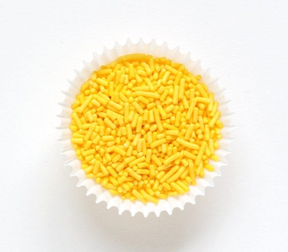 Yellow Jimmies, Yellow Cake Sprinkles, Yellow Sprinkles, Yellow Baby Shower (4 ounces)