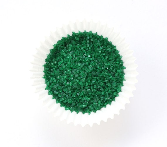Green Crystal Sugar, Dark Green Chunky Sugar, Green Sugar Sprinkles, Christmas Crystal Sugar  (4 ounces)
