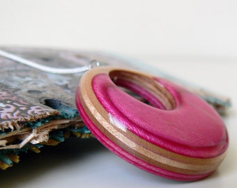 Hot Pink Wooden Pendant made from Recycled Skateboard with Wing Graphic