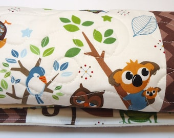 Burp Cloths-Baby Boy Burp Cloth-Modern Woodland Burp Clothes-Hooty Hoot Returns-Rag Burp Cloth