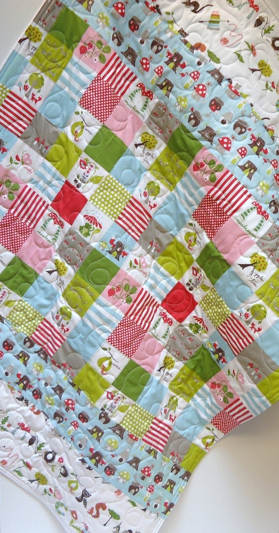 Baby quilt fox hollow gender neutral organic by for Unisex baby fabric