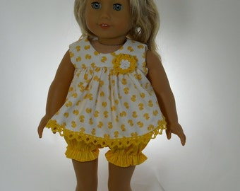 18 inch doll clothes, Yellow Duck Summer Pjs Pajamas, 04-0145