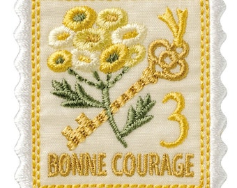 Tansy Stamp Applique, Flower Embroidered Iron On Patch, Japanese Kawaii Floral Iron on Applique, Made in Japan, Embroidery Applique, W027