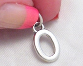 dainty 925 sterling silver number / numbers 0 or letter O pendant or bracelet charm