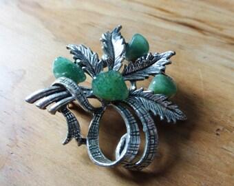 Green floral gemstone vintage brooch