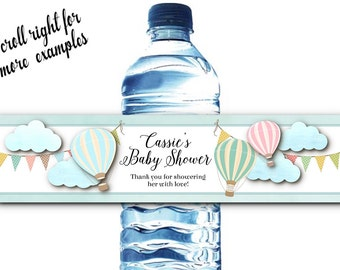 10 Waterproof Peel & Stick Water Bottle Labels, Pastel Hot Air Balloons, Wedding, Bridal Shower, Baby Shower, Birthday