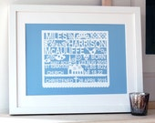 Personalized Christening or Baptism Art Print - New born baby gift, gift for baby, baptism gift, personalised christening art
