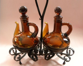 Vintage Amber Hand Blown Glass Oil and Vinegar Cruets with Holder and Spain Round Bubble Stoppers