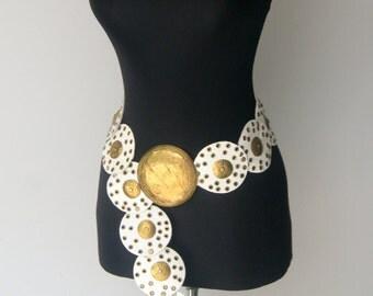 Vintage White Leather Medallion Style Belt
