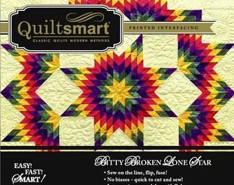 Quiltsmart Snuggler Pack Bitty Broken Lone Star Fusible Interfacing Pattern Kit