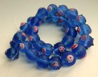 Blue Matte Glass Beads Pink Flowers Round 10 pcs