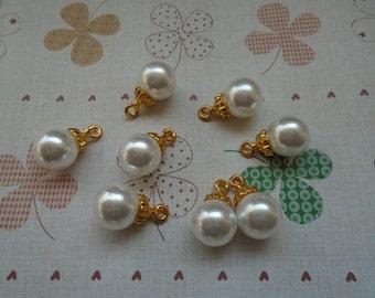 20pcs 17x10x10mm white/beige artificial plastic pearl earring charm/pendant