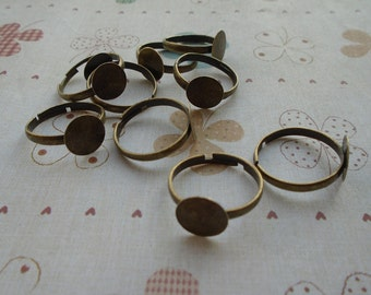 50pcs Adjustable Bronze Ring Blanks 10mm