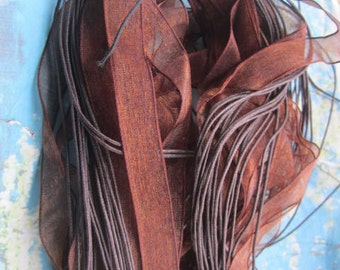 New width--13mm--20pcs 18-20 inch adjustable brown organza ribbon necklace cords