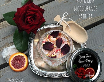 Black Rose Blood Orange Bath Tea - 8oz / 100% Natural, Handgrown Roses - Gothic Gifts