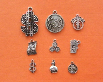 The Money Collection - 9 different antique silver tone charms