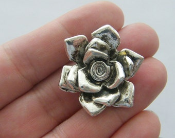 2 Rose pendants antique silver tone F116