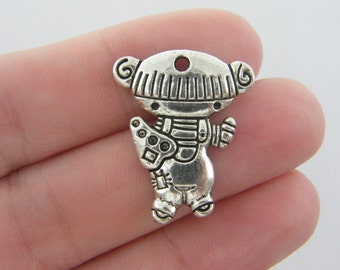 4 Painter girl charms antique silver tone P60