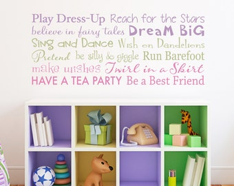 Playroom rules decal have fun read dream big make for Party wall regulations