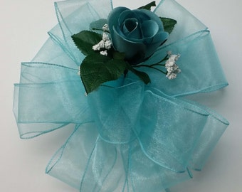 Wedding Pew Bows Sheer Aqua Wired Ribbon with Dusty Aqua Rose Bud & Babies Breath Hand Tied