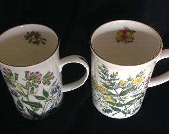 "2 St George MUGS fine bone china ENGLAND flowers floral 4.25"" high"