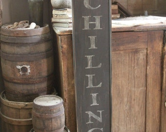 Early looking Antique Primitive Vertical Family Name and Year Wooden Sign