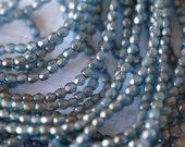 3mm Fire Polished Beads - Halo - Shadows - Copper Luster Czech Glass Beads - Aqua Halo Beads - Bead Soup Beads