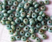 3mm Turquoise Picasso Rondelle - Small Rondelle - Donut - Czech Glass Beads - Picasso Donut - Bead Soup Beads