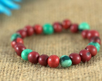 Cranberry and Turquoise Acai Bead Stretch Bracelet, red, blue, beaded bracelet