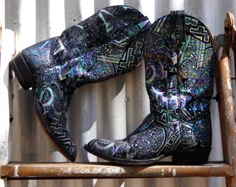 iridescent, spacey, cowgirl boot, size 6, made by Alberta Boot Co.