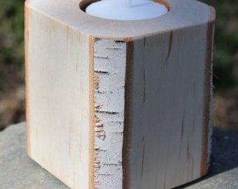 Rustic Modern Birch Tea Light Candle Holder