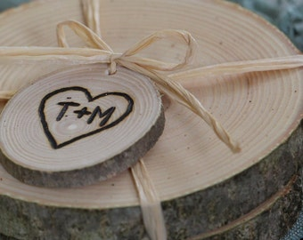 Rustic Wedding Favors Personalized Pair of Ash or Birch Coasters - 25 Pairs