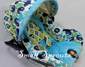 Floor Model Sale~Graco Snugride 22 Blue, Yellow and Green Ikat Infant Cover 5 piece set~Ready To Ship