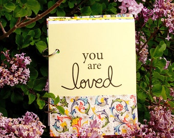 Baby Book with writing Prompts, Document baby Milestones with You Are Loved Baby Journal in Morning Sun Yellow