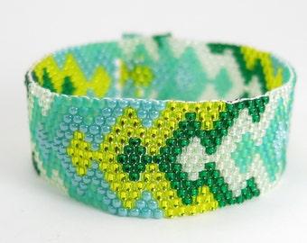 ACCOMPLISH Seed Bead Bracelet, Geometric Pattern Seed Bead Jewelry, Bead Weaving, Hand Beaded Peyote Jewelry, Green Blue and Yellow Bracelet