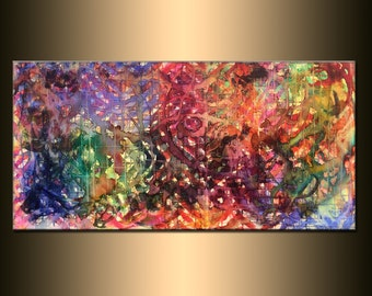 Large ORIGINAL Abstract Painting Modern Contemporary Gallery Fine Art Ready To Hang by Henry Parsinia 48x24