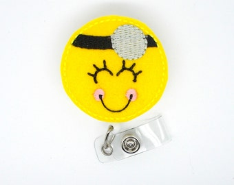 Smiley Face Doctor - Badge Reel - MD Badge Holder - Doctor Badge - Medical Doctor Badge Clip - Medical Office Badge - Surgeon Badge
