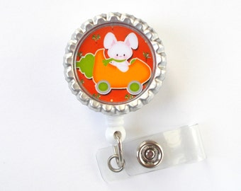 Bobby the Bunny - Nursing Badge Holder - Teacher Badge Reel - Nurse Name Badge - Nurses Badge - Bunny Badge Reel - RN Badge - Easter Badge