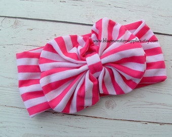 Hot Pink Striped Bow and Knit Headband