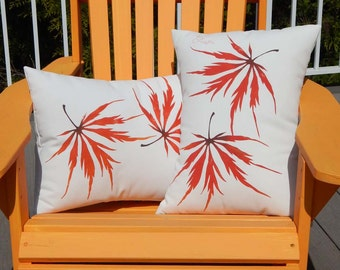 "Outdoor pillow Japanese Maple lumbar 14""x19"" wedding kneeling autumn leaves laceleaf garden gardener horticulture Crabby Chris Original"