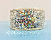 Silver galactic madness leather loomed beaded bracelet