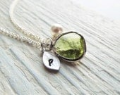 Peridot Necklace, August Birthstone Necklace, Initial Necklace, Birthstone Jewelry, August Birthday Jewelry, Personalized Necklace