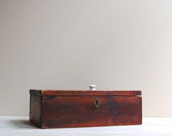 Vintage Wood Box, Antique Treasure Box, Keepsake Wooden Box
